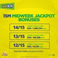 Betika Midweek Jackpot Winners and Results